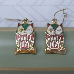 Vintage Aviva Cloisonne Winking Owl Earrings